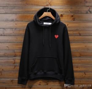 Мода CDG красное сердце вышивки Толстовка Hip Hop игра Sweatershirt с хлопковым пуловером Негабаритная для мужчин Женщина Открытого Wear