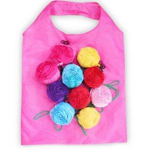 Rose faltbare Einkaufstasche der Blumen-3D Folding Wiederverwendbare ECO freundliche Schultertasche faltender Beutel-Speicher-Beutel