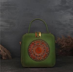 Плечо и ретро Продажа сумки кожаных состояний Европа модель тиснение 2020 новая сумка слой слой коровьей женской вершины Hot United Explosi JHCO