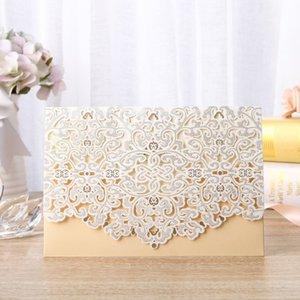 50pcs Gold White Laser Cut Luxury Flora Wedding Invitations Card Elegant Mariage Personalise Envelopes Party Decoration