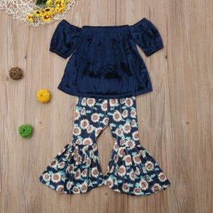 Dulce sólido de hombro camiseta y la impresión del girasol de la llamarada pantalones 2pcs de los niños para el niño ropa de la muchacha