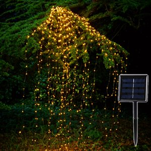 Solar Copper Led гирлянд Открытый 200 Leds Водопад Fairy сосулька Лампа 2M Vines Branch Сад Xmas Tree Декор Свет