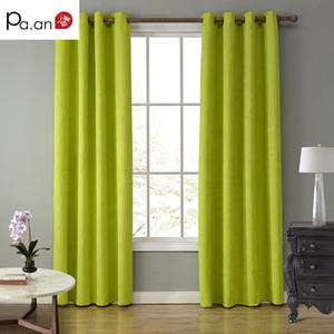 Cortinas de tela de gamuza verde de Europa para sala de estar Dormitorio Color sólido Ojal Cortina superior Blackout Window Screen Cloth