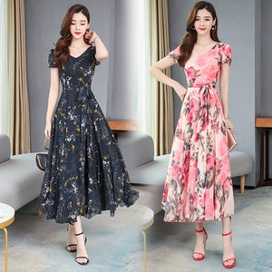 2020 Hot Sale Flower Evening Dresses Jewel Neck Short Sleeves Ruched Chiffon Printed Prom Dress Floor-length Formal Party Gown
