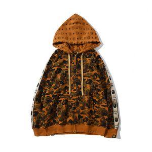 Chaqueta de marca compartida Camo Terry Cardigan suelta otoño invierno nuevos hombres del estilo ocasional de la chaqueta de cremallera chaqueta de camuflaje de los Enamorados