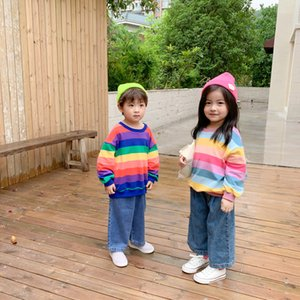 Cute Kids Stripe Sweatshirt 2020 Fall New Children Rainbow Striped Round Collar Long Sleeve Pullover Boys Girls Cotton Tops V047