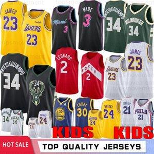 NCAA Gençlik Çocuk LeBron 23 James Sıcaknba basketbol Formalar Stephen 30 Curry 34 Antetokounmpo Kawhi 2Leonard Joel 21 Embiid 25 Simmons