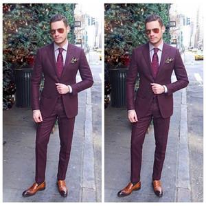 Alta Qualidade 2019 Formal Personalizado Online Mens Terno de Negócios Duas Peças de Casamento Smoking Slim Fit Noivo Desgaste (Jaqueta + Calças)