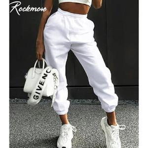 Rockmore Harajuku Joggers pierna ancha pantalones deportivos pantalones las mujeres más del tamaño pantalones de cintura alta de Calle coreana ocasional de las bragas Femme otoño