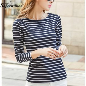 Soperwillton Cotton T Shirt Women 2020 New Spring Long Sleeve O Neck Striped Female T Shirt White Casual Basic Classic Tops 620