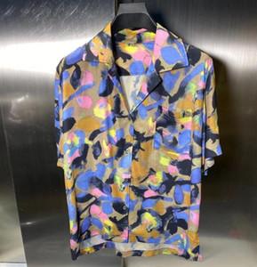 nova 2020SS di coloridas Flores camisa havaiana Logo bordado manga curta Tops camisa Tooling Summer Holiday Casual T-shirt Rua