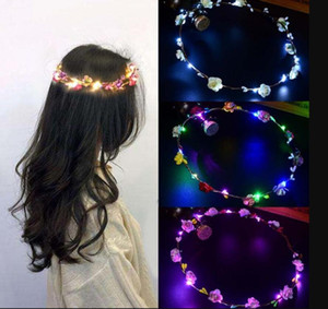 LED Light Flower Wreaths Bohemia Style Wedding Party Bride Children Headwear Decor Glow Floral Crown Beach Holiday Garland LED Lighted Toys