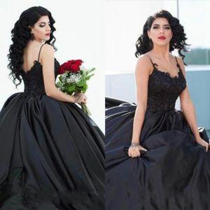 2020 Estilo árabe de bola del vestido de boda gótica Negro de correas espaguetis suelo raso apliques de encaje Longitud de Vestidos de novia más el tamaño de encargo