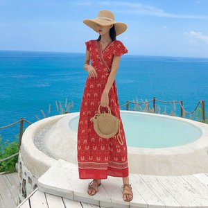 Wrap Dress Vintage Bohemian Red Floral Print Beach Cover Up Holiday Charming Party Prom Vacation Women Summer New Dresses 8070