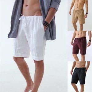 Verão Mens Shorts Moda Natural Shorts cor com bolso Casual Hetero joelho com cordão calças dos homens Calças