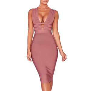 2019 Nouveautés Femmes D'été Bandage Robe Vestidos Sexy Profonde Col En V Sans Manches Bodycon Club Celebrity Robes De Soirée Dos Nu Y190426