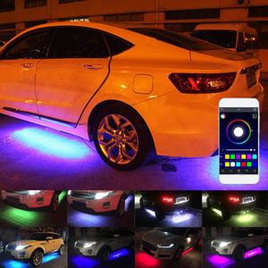 4pcs voiture RGB LED bande de lumière sous LED Strip lumières 7 couleurs Tube Underbody système Neon Light Kit châssis avec télécommande pour Cruze