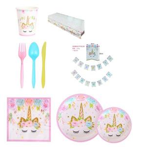 Unicorn Theme Baby Shower Banner Vajilla Set Mantel Bandeja de papel Copa Artículos de fiesta Popular 28 5yc UU