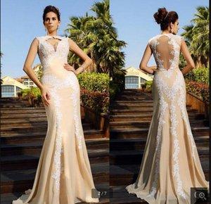2019 nouvelle arrivée sirène dentelle appliques en mousseline de soie robe de bal ouvert dos sexy robes de bal de champagne perlée meilleure vente robes longues de bal