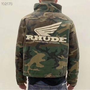 RHUDE Jaquetas Homens Mulheres costura Streetwear Bomber Camouflage Jacket casaco corta-vento do arco-íris Army Men Jacket