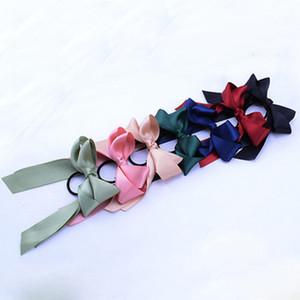 6 de la moda verano Color Cuerda Cola de caballo Bufanda elástico del pelo de las mujeres de pelo Bandas pajaritas Scrunchies pelo de la flor de la cinta Hairbands L Imprimir