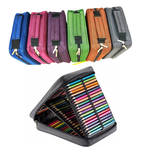 4 Layers 120 Slots Large Capacity Pencil Case 6 Colors Canvas School Pencil Bag Pouch with Holder For Art Supplies
