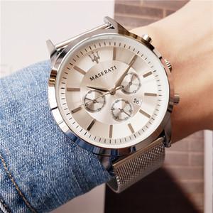 Lüks maserati İzle erkekler için Ince çelik bant kuvars eğlence İş İzle erkek tasarımcı saatler Mavi dial montre homme Ücretsiz kargo