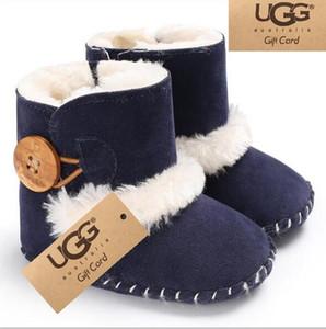 2020 детские UGJG зима хлопок обувь 0-1 лет Детские сапоги теплые нескользящие плюс бархат снегоступы малыша обувь