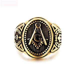Masonluk takı yüzükler titanyum çelik vintga yüzük mücevher adam için retro yüksek kalite yüzük ücretsiz kargo