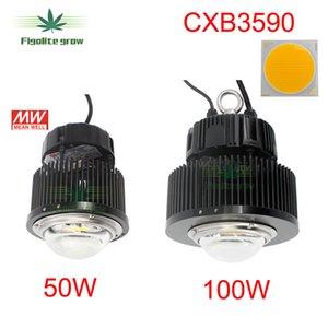 Nueva DIY 50w 100w Cree COB CXB3590 viruta LED crece la luz con HBG-100-36B para la planta de cultivo de interior, 5 años de garantía