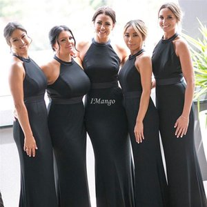 Black Mermaid Bridesmaid Dresses Halter Sleeveless Zipper Back Fitted Country Garden Wedding Guest Dresses Simple Cheap Maid Of Honor Gowns