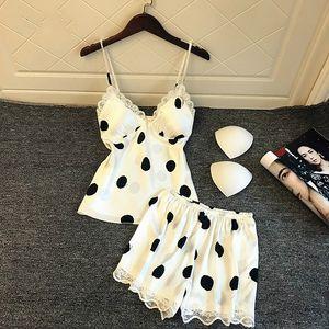 Summer Sexy Lace Pajama Sets Women V-Neck 2PCS Sleepwear Polka Dot Strap Top&Shorts Cute Home Clothes Casual Home Wear XL