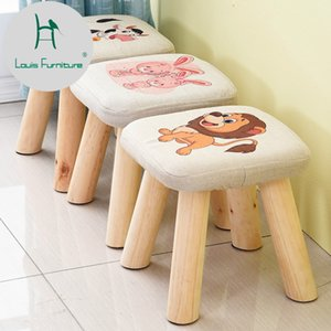 Louis Fashion Small Stool Solid Wood Sofa Fabric Square Mushroom Type Short Creative Wear Shoes