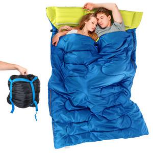 كيسان مزدوجان للنوم في الهواء الطلق التخييم كيس للنوم المشي لمسافات طويلة (2.15m * 1.45m) وسادة كيس النوم المحمولة