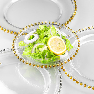 düğün masa dekorasyonu 21cm CNY2131 için Düğün Plakalı Nordic Altın Boncuk Cam Şarj Akşam Kaplama Bulaşık Dekoratif Salata Meyve Akşam