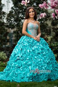 2019 Zarif Sevgiliye Pick-up Güzel Boncuklu Balo Prenses Quinceanera elbise Ile Ruffles Tatlı 15 Elbiseler Artı Boyutu