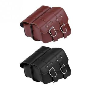 Universal 1pair Motorcycle Saddlebag sacoche de selle moto en cuir PU avant arrière fourche Sac à outils Valise Bagages Seat