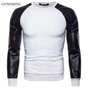 Mountainskin PU cuir Patchwork manches longues Homme T-shirt 3XL Femme Automne Manteaux Hommes Manteaux O-Neck Homme Vêtements Slim Fit