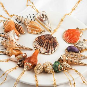 20 Styles Seashell Pendentifs Collier Initial Femme Déclaration Jewlery Géométrique Multi 2 couches Coquillages Ras Du Cou Colliers pour Femmes