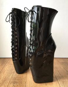 Özel Siyah Bilek Boots Kadınlar Kare Topuklar Bdsm Kısa Patik Bayanlar Bale Nal Lace Up takozları Platformu Heelless Ayakkabı