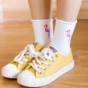 20190414 Cartoon Animal Ribbed Woman Socks Pure Cotton Calcetines sueltos permeables al aire