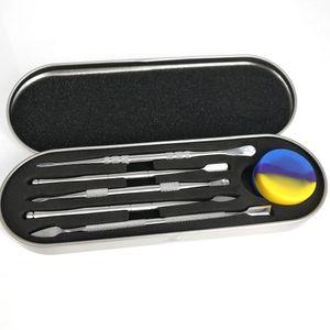 106-121mm Dab Наборы инструментов восковое масло Контейнер Набор инструментов Алюминиевая коробка Упаковка Wax Форсунка Titanium Nail Dabber инструмента Силиконовые Box Комплекты