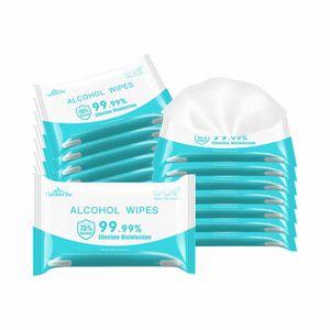 10PC batuffoli imbevuti d'alcol Portable 75% Salviette disinfettanti la pulizia della pelle Cura tamponi antisettici Strumenti alcol Tissue Box