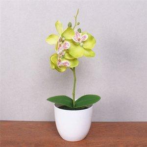 1 Set Phalaenopsis Simulation Flower Potted Artificial Orchid Flower + Foam Leaf +plastic Vase Home Decor Bonsai Gift Z