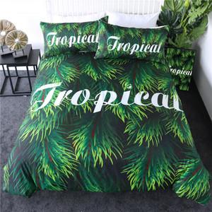 Tropical Bedding Set Hoja Verde reina funda nórdica hojas de las plantas Tree Bed mayor de la cubierta Botánico 3pcs Colchas