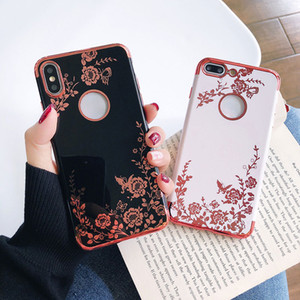 Flower Electroplating Cell Phone Case for iPhone 11 Pro Max Luxury TPU Back Cover For iphone XS XR 8 7 6s Plus