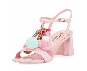 Sexy2019 Pink Year Color Hair Bulb Metalldekoration Toe One Word Bring Sandalen Grob Mit Stöckelschuhen