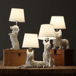 Art Decor Смола Настольная лампа для спальни гостиной Детской комнаты детей ночников собак Anmails Настольной лампа Черного со светильниками