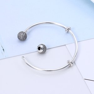 Original 925 Sterling Silver Quality Moments Open Bangle Pave Caps With Cubic Zirconia Bracelet Fit Bead Charm Fashion Jewelry