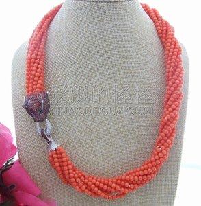 Collier à fermoir rond en corail orange de 10 brins pour femme